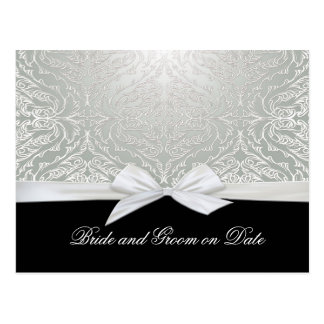 Luxury Ribbon Silver/Black Damask Save date card