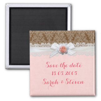 Luxury Rose Ribbon Brown Damask Save the date Square Magnet