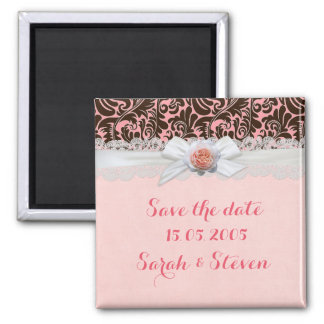 Luxury Rose Ribbon Chocolate Damask Save the date Square Magnet