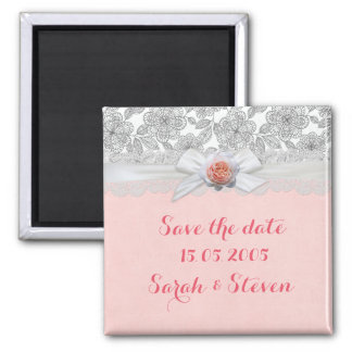 Luxury Rose Ribbon Damask Save the date Square Magnet