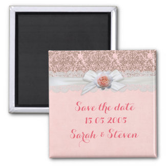 Luxury Rose Ribbon Delicate Damask Save the date Square Magnet