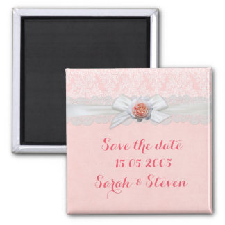 Luxury Rose Ribbon Pink Damask Save the date Square Magnet