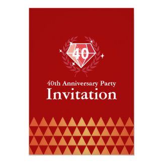 Luxury Ruby Gems 40th Anniversary Party Invites