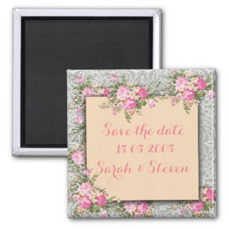 Luxury Silver/Coral Floral Damask Save the date Square Magnet