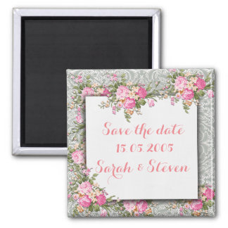 Luxury Silver Floral Damask Save the date Square Magnet