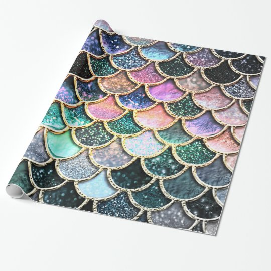 Luxury silver Glitter Mermaid Scales Wrapping Paper