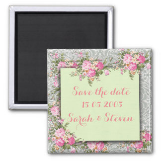Luxury Silver/Green Floral Damask Save the date Square Magnet