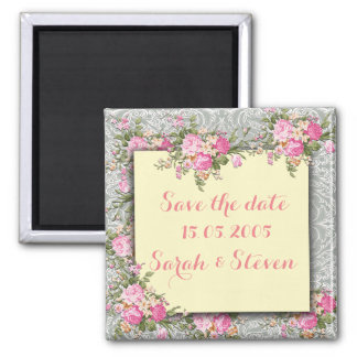 Luxury Silver/Ivory Floral Damask Save the date Square Magnet