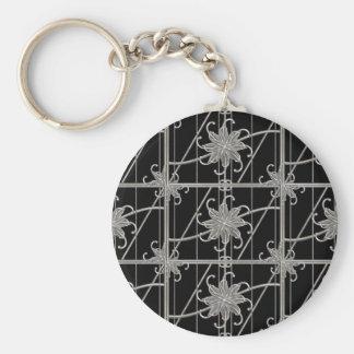Luxury Silver Ornamental Pattern Keychain
