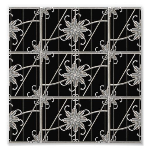 Luxury Silver Ornamental Pattern Photo Print
