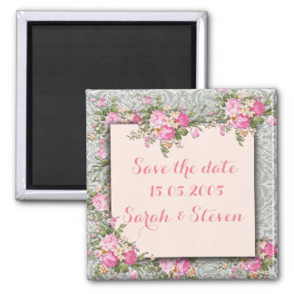 Luxury Silver/Pink Floral Damask Save the date Square Magnet