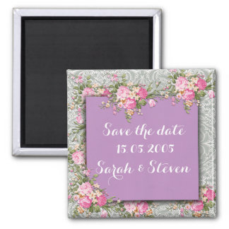 Luxury Silver/Purple Floral Damask Save the date Square Magnet