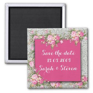 Luxury Silver/Violet Floral Damask Save the date Square Magnet