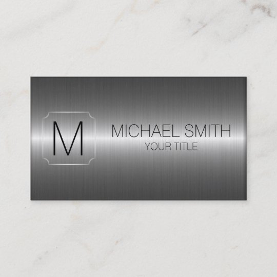 Luxury stainless steel metal monogram business card zazzle luxury stainless steel metal monogram business card reheart Image collections