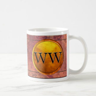 Luxury Stitched Leather and Gold Embossed Monogram Coffee Mugs