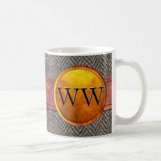 Luxury Stitched Leather, Tweed and Gold Monogram Mug