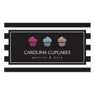 Luxury Striped Cupcake Trio Bakery Business Card