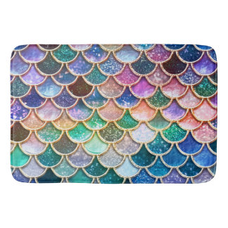 Luxury summerly multicolor Glitter Mermaid Scales Bath Mat