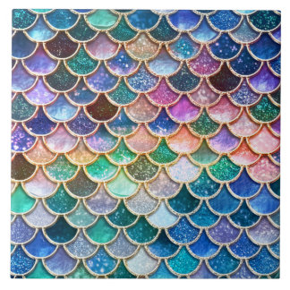 Luxury summerly multicolor Glitter Mermaid Scales Large Square Tile