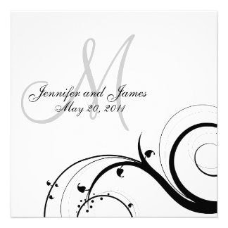 Luxury Swirl Monogram Wedding Invitations