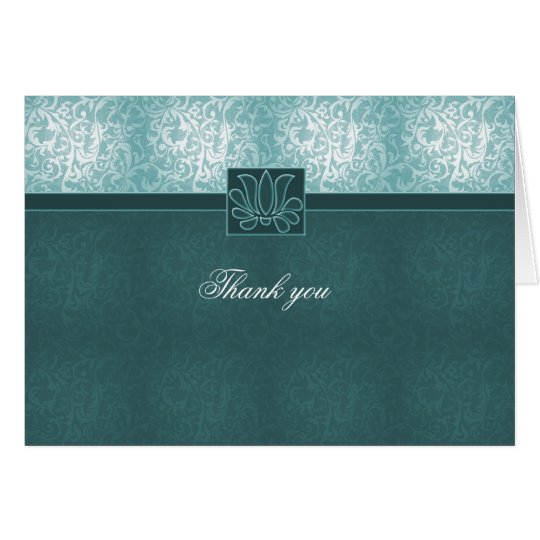 Luxury Turquoise Floral Damask Thank you card
