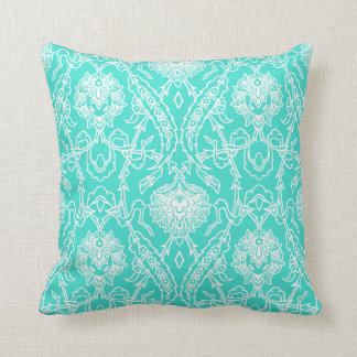 Luxury Turquoise & White Damask Decorative Pattern Cushion