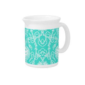 Luxury Turquoise & White Damask Decorative Pattern Pitcher