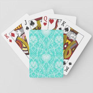 Luxury Turquoise & White Damask Decorative Pattern Playing Cards