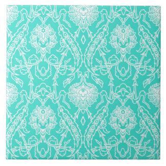 Luxury Turquoise & White Damask Decorative Pattern Tile