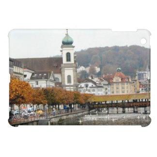 Luzern Old bridge and Jesuit church iPad Mini Cases