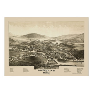 Luzerne & Hadley, NY Panoramic Map - 1887 Poster