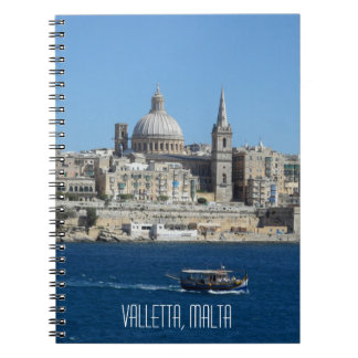 Luzzu Fishing Boat Valletta Harbour Malta Skyline Spiral Notebook