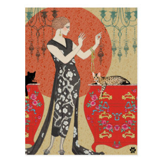 Lydia & Bengal in Red and Gold Postcard
