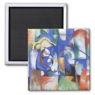 Lying Bull by Franz Marc, Vintage Cubism Art Square Magnet