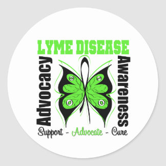 Lyme Disease Awareness Butterfly Round Sticker