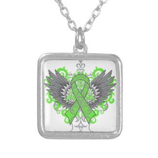 Lyme Disease Awareness Cool Wings Square Pendant Necklace
