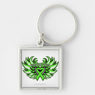 Lyme Disease Awareness Heart Wings.png Silver-Colored Square Key Ring
