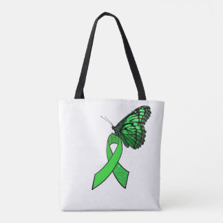 Lyme Disease Awareness Ribbon and Butterfly Tote Bag