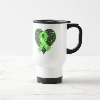 Lyme Disease Believe Ribbon Heart Stainless Steel Travel Mug