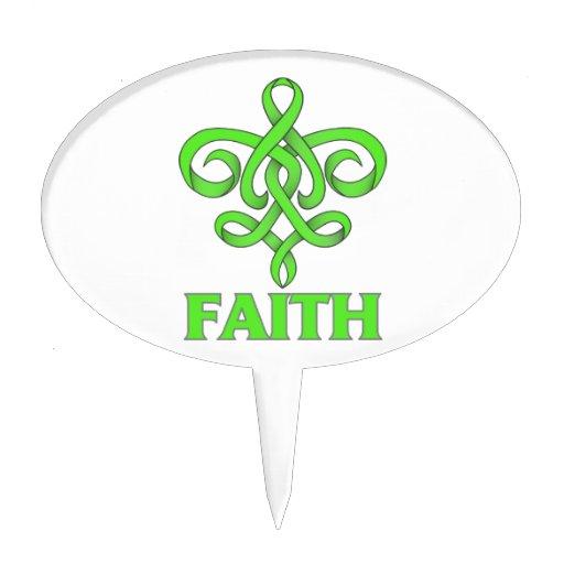 Lyme Disease Faith Fleur de Lis Ribbon Cake Picks