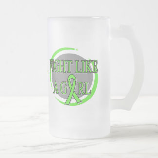 Lyme Disease Fight Like A Girl Circular Frosted Glass Mug