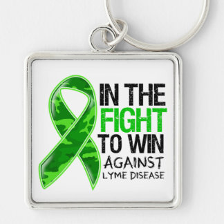 Lyme Disease - Fight To Win Silver-Colored Square Key Ring