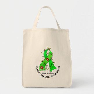 Lyme Disease Flower Ribbon 1 Grocery Tote Bag