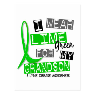 Lyme Disease I Wear Lime Green For My Grandson 37 Postcard