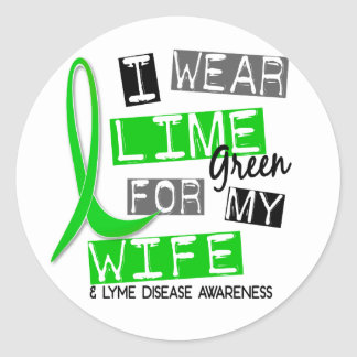 Lyme Disease I Wear Lime Green For My Wife 37 Round Sticker