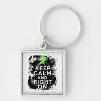 Lyme Disease Keep Calm and Fight On Silver-Colored Square Key Ring
