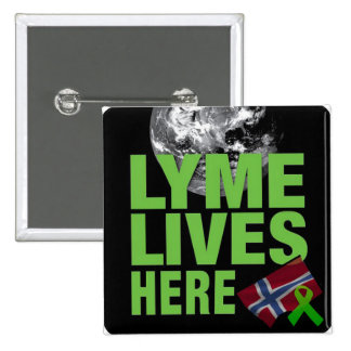 Lyme Lives Here Norway Awareness Button