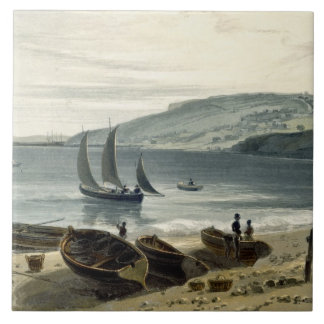 Lyme Regis, from Charmouth, Dorset, from 'A Voyage Tile