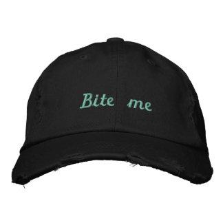 Lyme_Ticked Black Teal Bite Me Hat - Kendelle Embroidered Hat