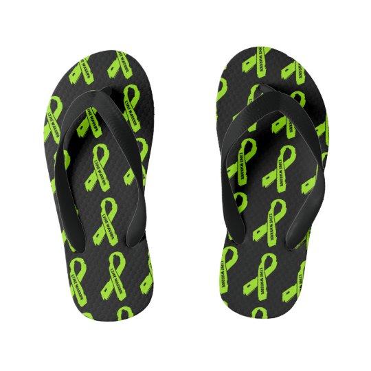 LYME WARRIOR/ torn ribbon Kid's Flip Flops